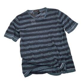 ロベルトコリーナ roberto collina リネン ナイロン サマーニット ボーダー Tシャツ ブルー系 [メンズ] RV41021 10 DENIM