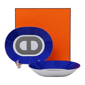 【2点セット】エルメス HERMES ラリー24 オーバルプレート PM 22cm ブルー 食器 皿 陶器 032307