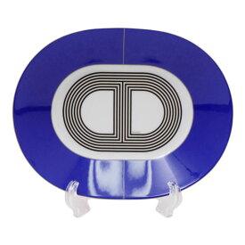 エルメス HERMES ラリー24 オーバルプレート PM 22cm ブルー 食器 皿 陶器 032307【2点購入で純正箱付】