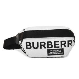 バーバリー BURBERRY ナイロン ロゴプリント クロスボディバッグ ウエストポーチ ホワイト×ブラック [レディース] 8015143 WHITE