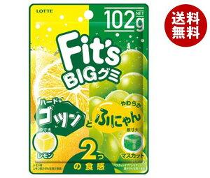 送料無料 ロッテ Fit's グミ ゴツンとふにゃん レモン&マスカット 102g×10個入 ※北海道・沖縄・離島は別途送料が必要。