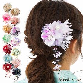 髪飾り 浴衣 和装 コサージュ 七五三 かんざし クリップ 花びら下がりの和柄2輪コサージュ 送料無料  ゆかた 飾り 帯 花 お花の髪飾り ヘアアクセ