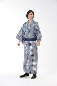 【浴衣と帯のセット】日本製 市松麻の葉(いちまつあさのは) 旅館浴衣【業務用】