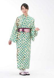 【浴衣と帯のセット】日本製 桜に市松(さくらにいちまつ)旅館浴衣【業務用】【遠州織物】