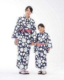 【浴衣と帯のセット】日本製 朝顔と水玉(あさがおとみずたま)旅館浴衣【業務用】【遠州織物】