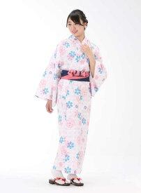 【浴衣と帯のセット】日本製 梅と山茶花(うめとさざんか)旅館浴衣【業務用】【遠州織物】
