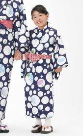【子供浴衣と帯のセット】日本製 子供用 旅館浴衣 朝顔と水玉(あさがおとみずたま)【業務用】【遠州織物】