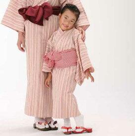 【子供浴衣と帯のセット】遠州綿紬 日本製 花桃(はなもも)子供用 旅館浴衣(四本紐付き)【業務用】【寝巻浴衣】