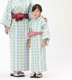【子供浴衣と帯のセット】遠州綿紬 日本製 木苺(きいちご)子供用 旅館浴衣【業務用】【寝巻浴衣】