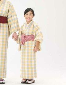 【子供浴衣と帯のセット】遠州綿紬 日本製 檸檬(れもん)子供用 旅館浴衣【業務用】【寝巻浴衣】