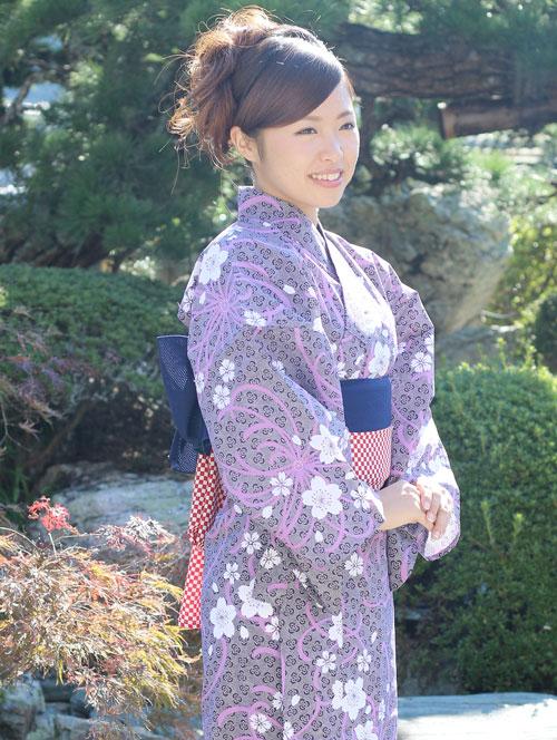 日本製 旅館浴衣 桜に乱菊【寝巻き浴衣】