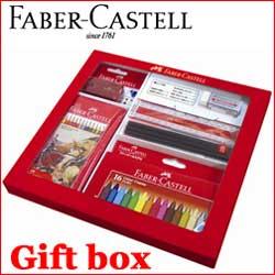ファーバーカステル ギフトボックス 色鉛筆12色セット 三角クレヨン16色セット 鉛筆3本(2B) 鉛筆削り まとまる消しゴム 定規(18cm)