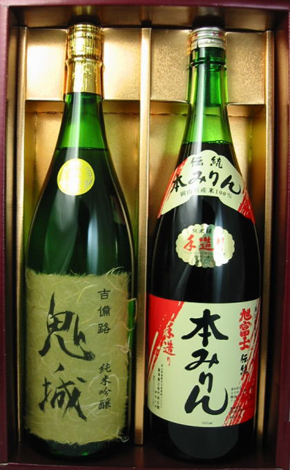 【蔵元直送】鬼ノ城(純米吟醸酒)・【お取り寄せ】旭富士手造り本みりんセット 1.8L×2本