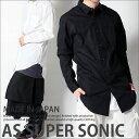 シャツ メンズ ロング丈 ZIPファスナー付 モード系 コットン 長袖 ブラックホワイト シャツワンピ AS SUPER SONIC