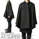 マントコート メンズ モード系 ポンチョ ケープコート ダブルコート ベルスリ 外套 オーバーコート ブラック 日本製 A…