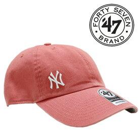 47 Brand キャップ メンズ レディース ニューヨーク ヤンキース MLB メジャーリーグ ベースボール 帽子 ロゴ 刺繍 アジャスタブル ストリート アメカジ 野球 ピンク 赤