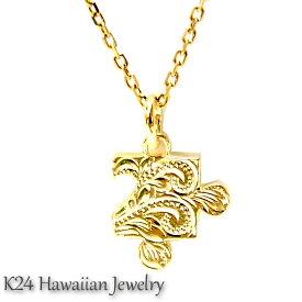 ハワイアンジュエリー K24 純金 コーティング k24 ペンダント ネックレス チェーン付き プルメリアモチーフ