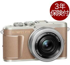 [3年保険付]OLYMPUS PEN E-PL10 14-42mm EZ レンズキット ブラウン オリンパスペンミラーレス一眼標準ズームキット[02P05Nov16]
