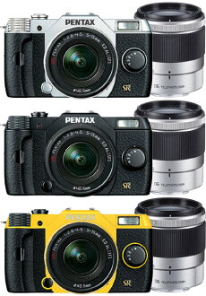 """PENTAX Q7 double zoom Kit color """"quick delivery-2 business days after shipping plan ' (silver/black/yellow) Q7 + 02 STANDARD ZOOM(5-15mmF2.8-4.5)+06 TELEPHOTO ZOOM(15mm-45mmF2.8) standard Zoom + telephoto zoom lens Kit"""