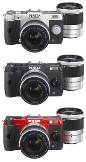 """PENTAX Q10 double zoom lens Kit color """"quick delivery-2 business days after shipping plan ' (silver/black/red) Q10 + 02 STANDARD ZOOM+PENTAX-06 TELEPHOTO ZOOM"""