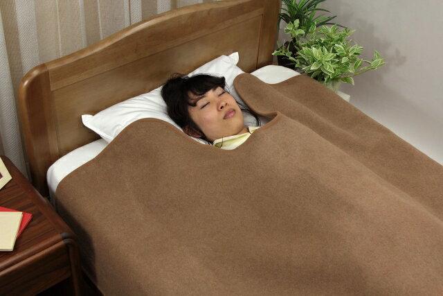 三井毛布 あったか キャメルウール 襟くり毛布 ウールマーク付き 送料無料