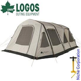 【最大500円OFFクーポン配信中】ロゴス テント グランベーシック エアマジック リビングハウス WXL-AI キャンプ 空気 簡単 アウトドア 2ルームテント ファミリー タープ