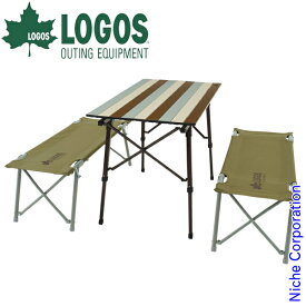 ロゴス Life オートレッグベンチテーブルセット4 (ヴィンテージ) 73188002 キャンプ用品