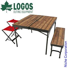 ロゴス セット Tracksleeper ベンチ&チェアテーブルセット4 73188004 アウトドア セット キャンプ 机 椅子