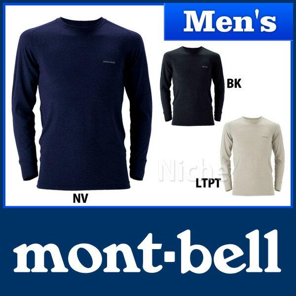モンベル スーパーメリノウール M.W.ラウンドネックシャツ Men's #1107235 [ montbell モンベル メリノウール m.w | ヒート インナー | アンダーウェア メンズ | モンベル tシャツ 長袖 | 防寒 防寒対策 防寒下着 ][男性用]