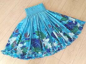 ☆再々入荷しました!☆【ギャザーの細かさが自慢】フラダンスのパウスカート 裾フリルハワイアンキルトのMiu-Mint製作p00488【新作】
