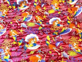 【ポイント10倍】【新作】ハワイアンファブリック カラー:レッド系  綿100%【ネコポスにて】クリスマス【ハワイ直輸入生地☆彡】