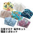 【完成品ではございません】【お買い回りにピッタリ】洗って使えるマスク製作キット福袋 3個入り選べるバリエーショ…