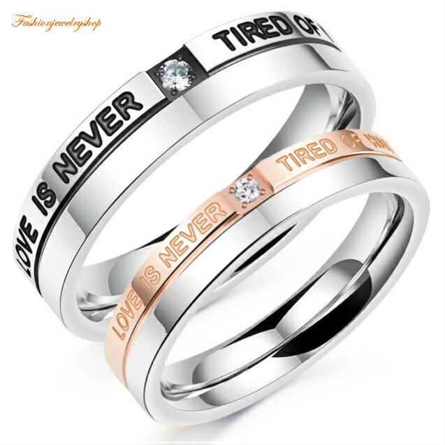 ペアリング サージカルステンレス316L ピンクゴールド ダイヤモンド 金属アレルギー対応 18K ピンクゴールド ステンレス 鍍金 シンプル LOVE ひねり 細身 上品 おしゃれ 指輪 マリッジリング 結婚指輪 2本セット価格