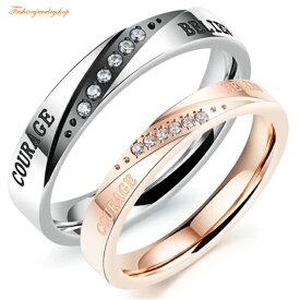 ペアLOVEリング サージカルステンレス316L ピンクゴールド ダイヤモンド 金属アレルギー対応 18K ピンクゴールド ステンレス 鍍金 シンプル ひねり 細身 上品 おしゃれ 指輪 マリッジリング 結婚指輪 LOVE 2本セット価格