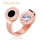 ローマ数字リングレディースジュエリーリング指輪金属アレルギー対応18Kピンクゴールドステンレス鍍金CZダイヤキュービックジルコニアブラックローマ数字ブルガリ好きに人気カジュアルかわいいおしゃれプレゼント