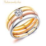CZダイヤリングレディースジュエリーリング指輪金属アレルギー対応18Kピンクゴールドステンレス鍍金CZダイヤキュービックジルコニアマルチカラー3連リング人気カジュアルかわいいおしゃれプレゼント
