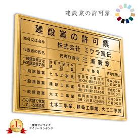 建設業の許可票 ゴールド調 送料無料 選べる4書体・4枠 撥水加工 錆びない 看板 法定サイズクリア ヘアライン仕様 540mm×380mm