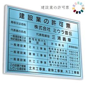 建設業の許可票 アクアブルー 送料無料 選べる4書体・4枠 撥水加工 錆びない 看板 法定サイズクリア ヘアライン仕様 540mm×380mm