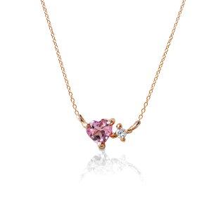 ハート 型の ピンク トルマリン と ダイヤモンドの小さな プチ ペンダント & キラキラ 輝くピンクゴールド 華奢 ネックレス チェーン が人気