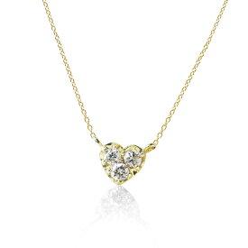 ハート モチーフ & スリーストーン ダイヤモンド0.1カラット K10イエロー ゴールド ペンダント ネックレスプレゼント ギフトにおすすめ ミワホウセキ miwahouseki