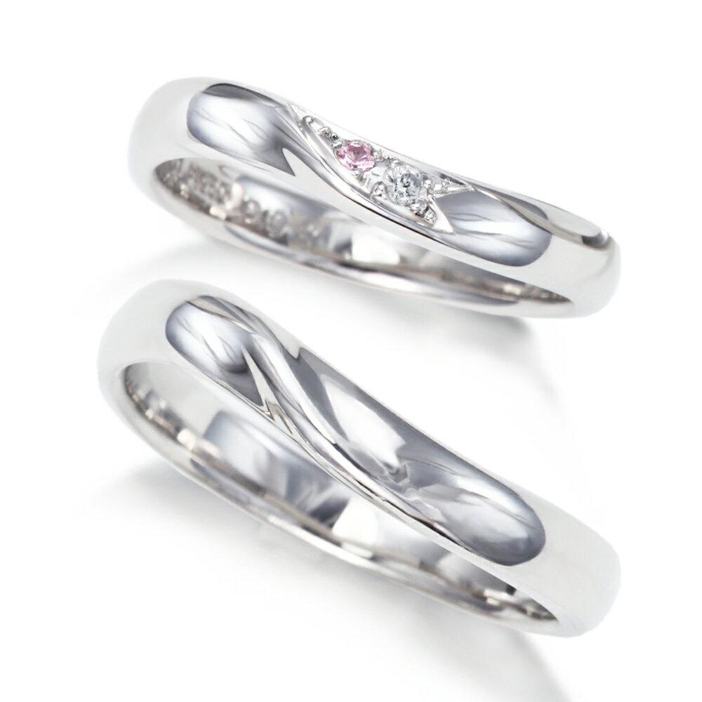 プラチナ 900 ダイヤモンド & ピンクサファイア 結婚指輪 マリッジリング !1年以内1回サイズ直し無料対応付き!文字入れ無料 送料無料 ミワホウセキ miwahouseki