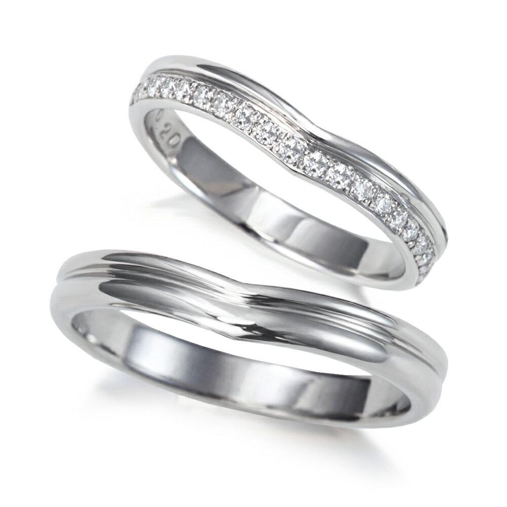 プラチナ900 ダイヤモンド 結婚指輪 指先美しく Vライン デザイン!人気のハーフエタニティ マリッジリング 1年以内1回サイズ直し無料対応付き!文字入れ無料 送料無料 ミワホウセキ miwahouseki