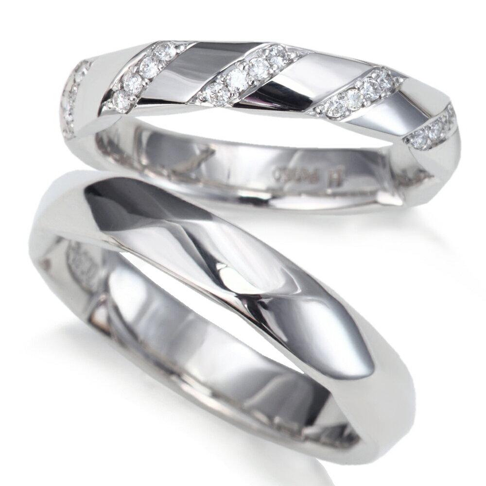 プラチナ カット ライン ダイヤモンド 結婚指輪 マリッジリング 1年以内1回サイズ直し無料対応付き!文字入れ無料 送料無料 ミワホウセキ miwahouseki