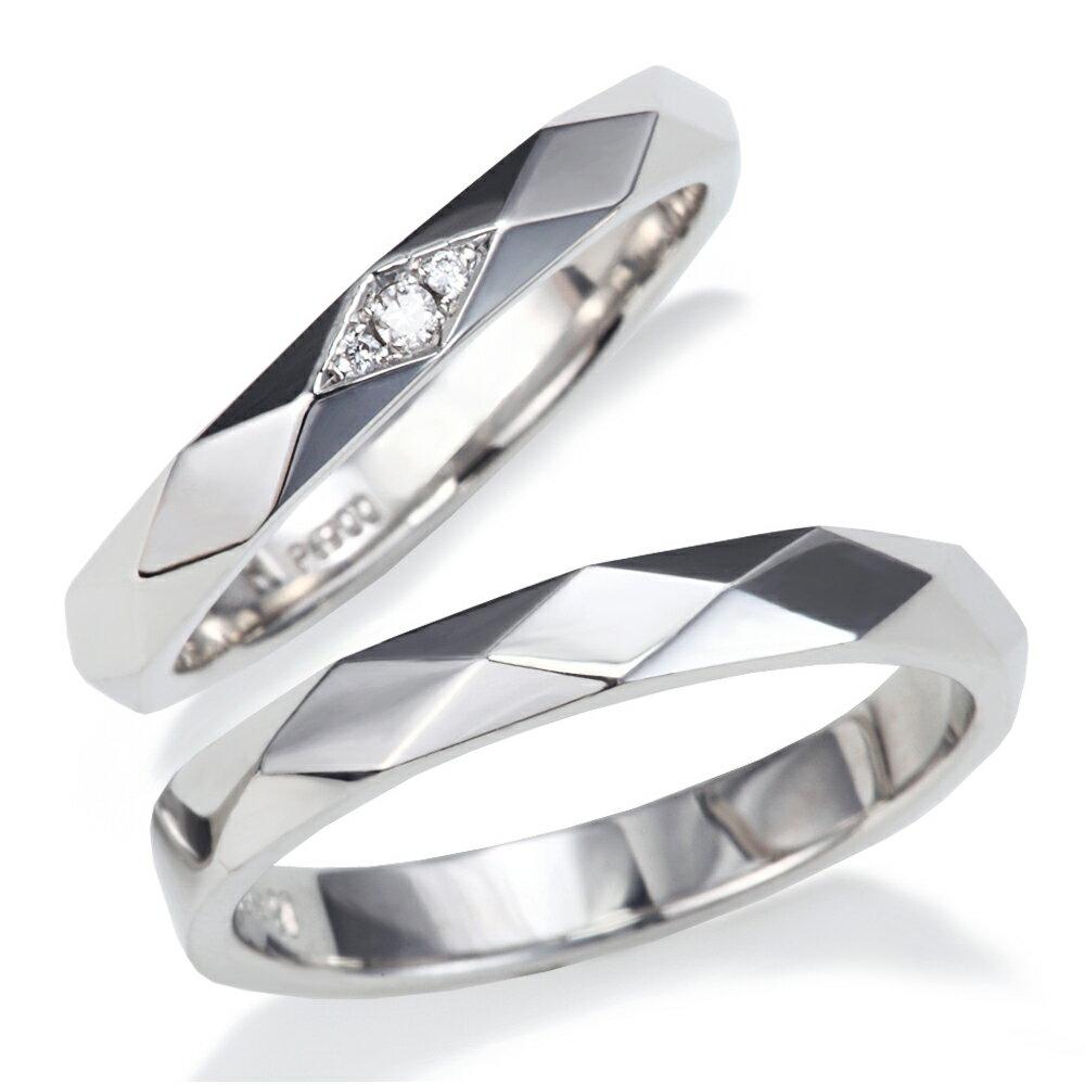 プラチナ 900 ダイヤモンド 結婚指輪 人気の カットライン デザイン マリッジリング !1年以内1回サイズ直し無料対応付き!文字入れ無料 送料無料 ミワホウセキ miwahouseki