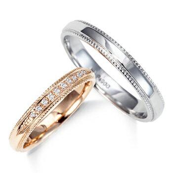 2本でこの価格 期間限定 特別価格結婚指輪 マリッジ リング プラチナ900 &K18ピンクゴールド 大人可愛い ダイヤモンド クラシカル ラインペアリング 1年以内 サイズ 直し 1回無料対応付 送料無料