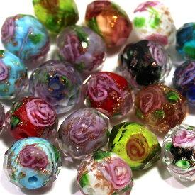 【5個販売】【カラー選べません】トンボ玉 ガラス ボタンガラス バラ 薔薇 とんぼ玉 ボタンビーズpa02