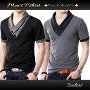 Tシャツ メンズ おしゃれ 半袖 Vネック 無地 カットソー スリム 襟付き 大きいサイズ ドライ 五分袖 ちょい悪 アメカジ ワイルド 飾りボタン コットン M L XL XXL サイズ