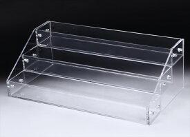 アクリル ケース 3段 透明 収納 長方形 大型 ディスプレイ ラック 展示 ボックス スタンド 雛壇 コレクション 小物 フィギュア 化粧品 メイクボックス 陳列 ホビー ショーケース プラスチック