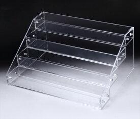 アクリル ケース 4段 透明 収納 長方形 大型 ディスプレイ ラック 展示 ボックス スタンド 雛壇 コレクション 小物 フィギュア 化粧品 メイクボックス 陳列 ホビー ショーケース プラスチック