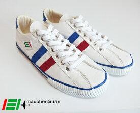 maccheronian マカロニアン レザースニーカー 2215L (White/Red/Blue)